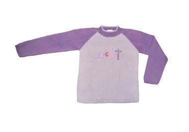 Lila kötött pulóver